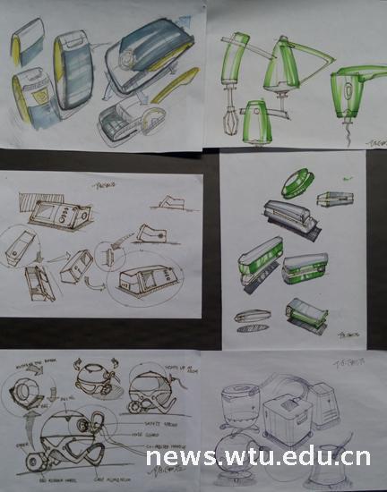 2015年工业设计(卓越)班手绘,展示设计展-武汉纺织-与